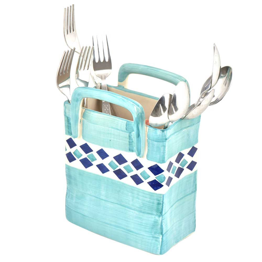 Light Blue Ceramic Cutlery Stand