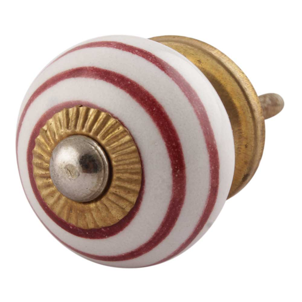 Cherry Striped Small Ceramic Cabinet Knobs