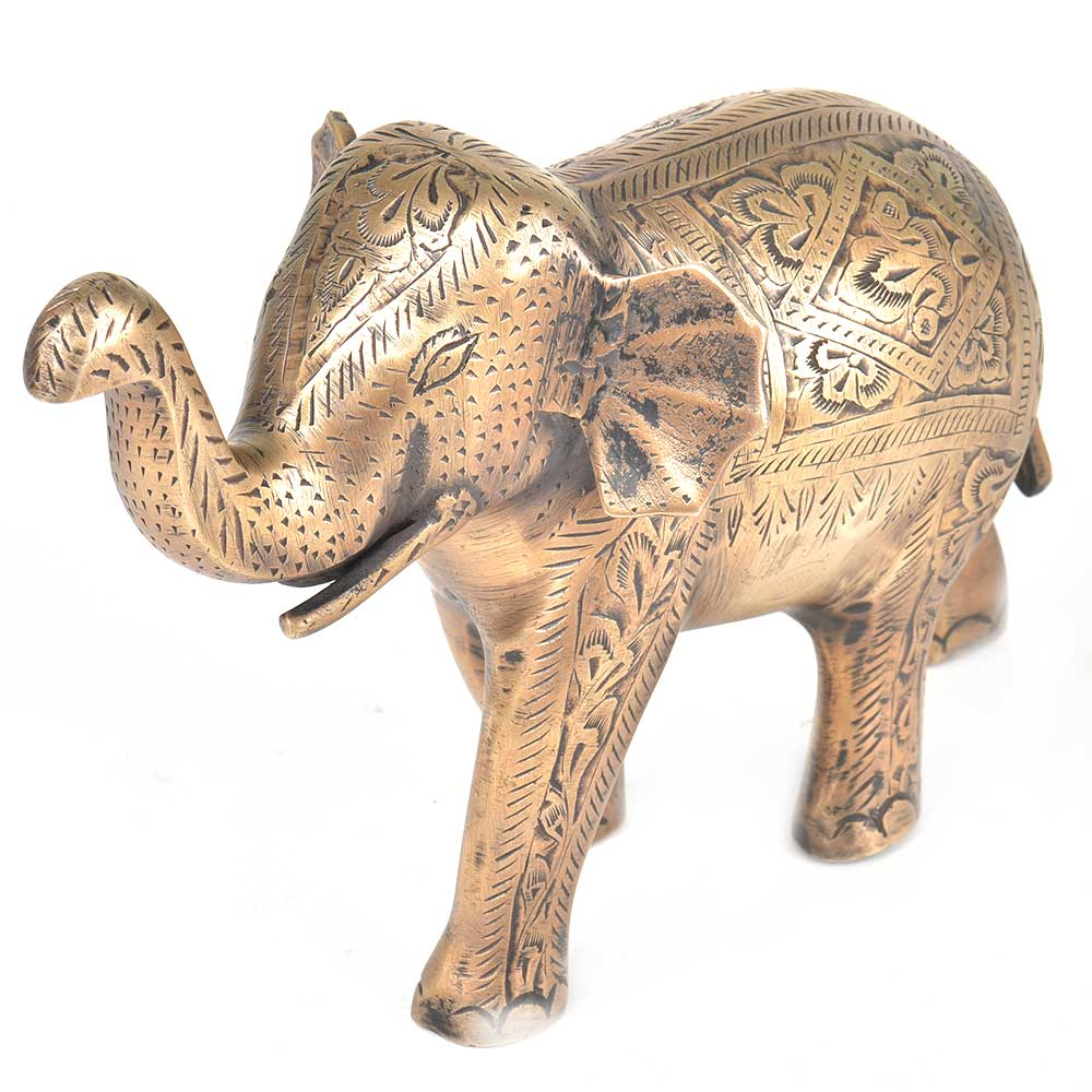 Brass Floral Engraved Elephant Raised Trunk Statue