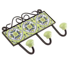 Lime Green Ceramic Flower Tiles Hook Online