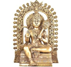 Brass Lord Hanuman on Throne Statue