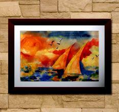 Sailing Boats & The Sun Wall Painting