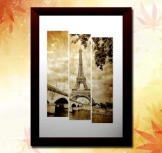 Vintage Sepia Eiffel Tower Wall Painting