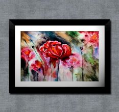 Painted Flowers Wall Painting
