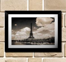 Grayscale Eiffel Tower Vintage Wall Painting