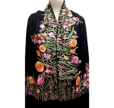 Black Semi Pashmina Stole With Violet and Orange Flower Embroidered Border
