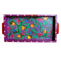 Purple Color Floral Design Handmade Painting Tray