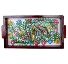 Floral Design Painting Wooden Tray