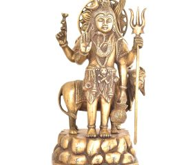 Brass Lord Shiva Standing Statue With Nandi