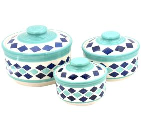 Ceramic Geometric 3 Storage Jar Set with Lids