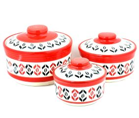 Red White Red Designer 3 Strorage jar Set With Lids