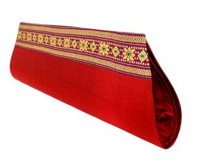 Miharu Red Color Handloom Silk Clutch Bag with Baluchari Motif Weave