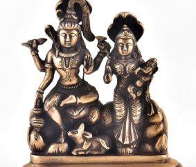 Vintage Brass Shiva Family Statue