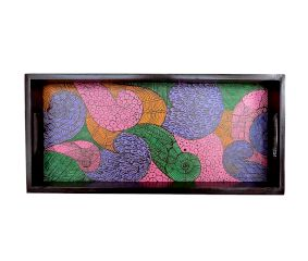 Multi-Color Geometric Design Handmade Painting Wooden Tray