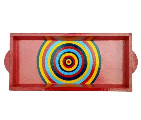 Pink Color Geometric Design Painting Tray