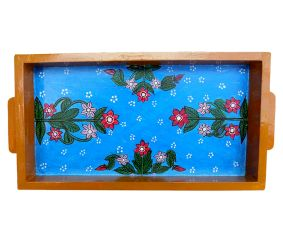 Blue Floral Design Wooden Tray