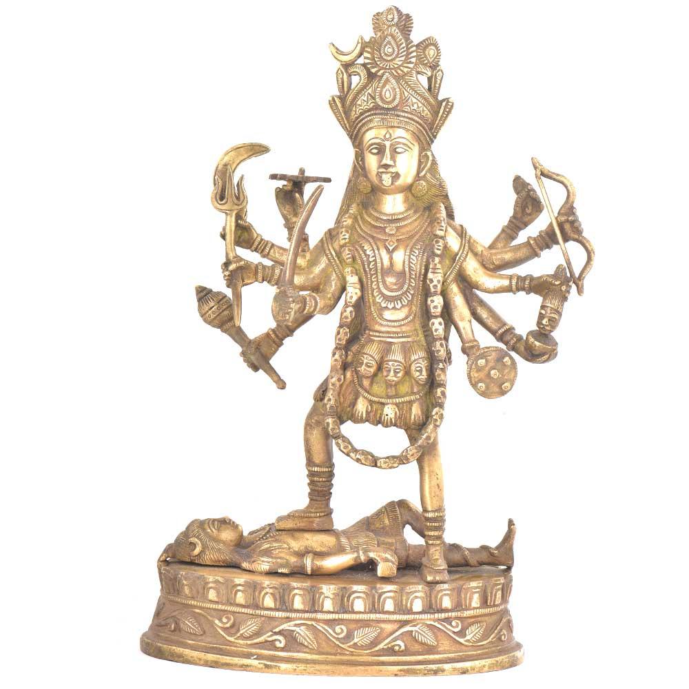 Brass Ten Armed Ma Kali Hindu Goddess Statue