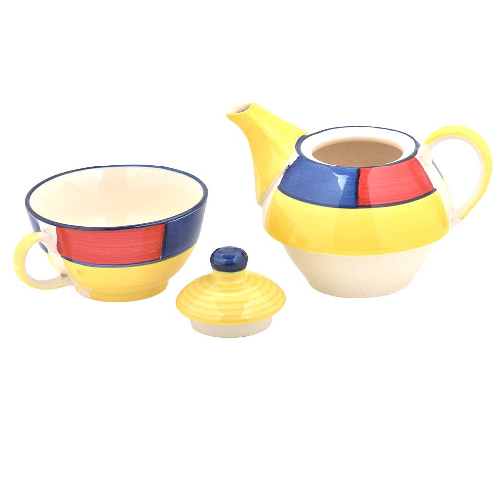 Yellow Colorful Design Ceramic Cup With Kettle Set