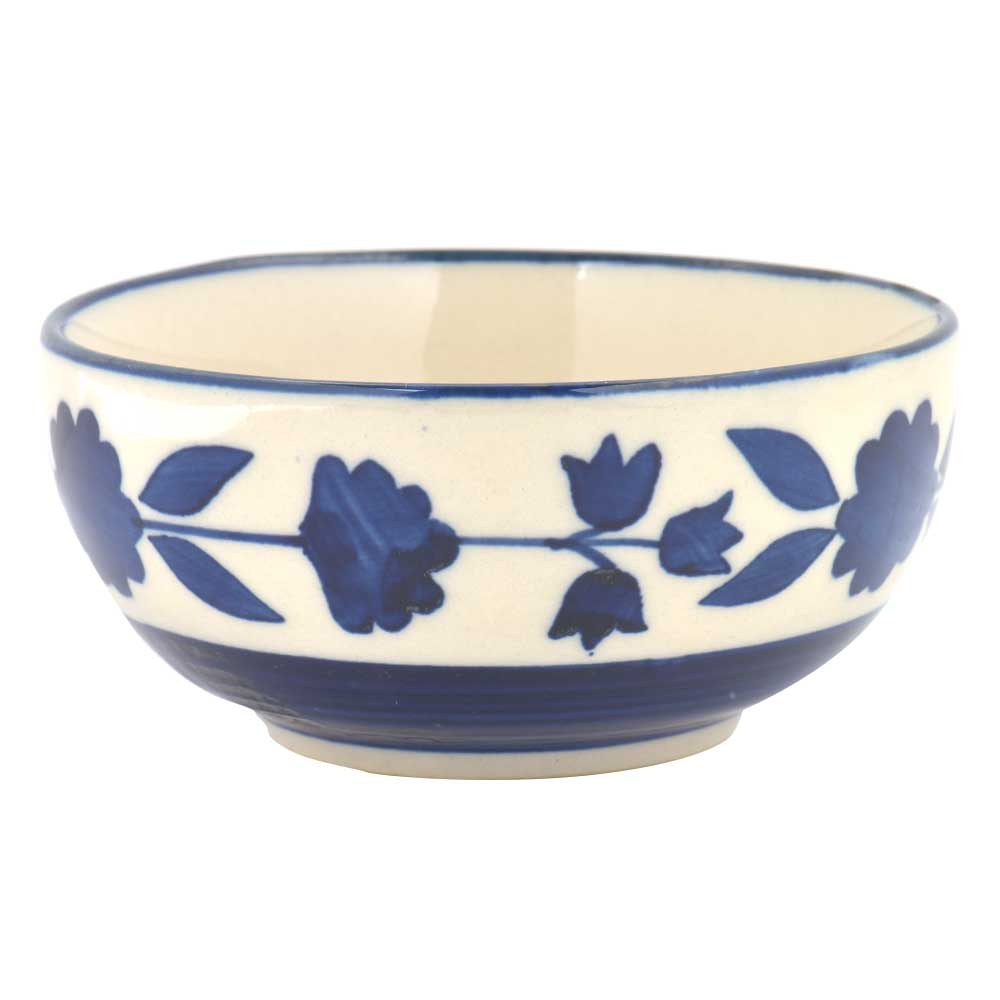 White Blue Floral Border Bowl Set of 2