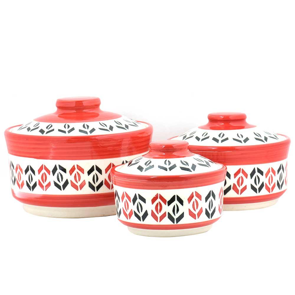 Red White Red Designer 3 Strorage jar Set With Lids