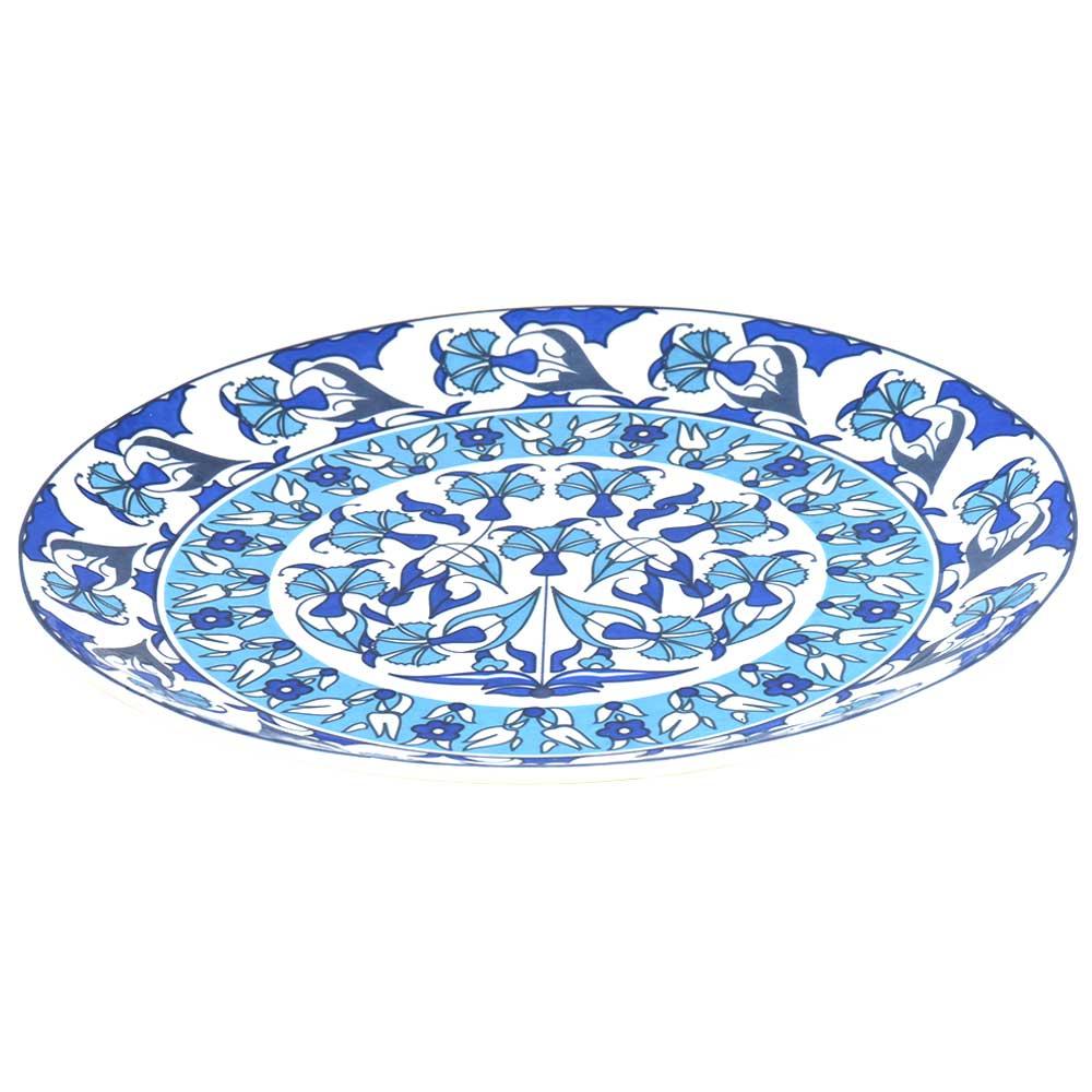 Blue Pottery Floral Design Serving Dinner Plate