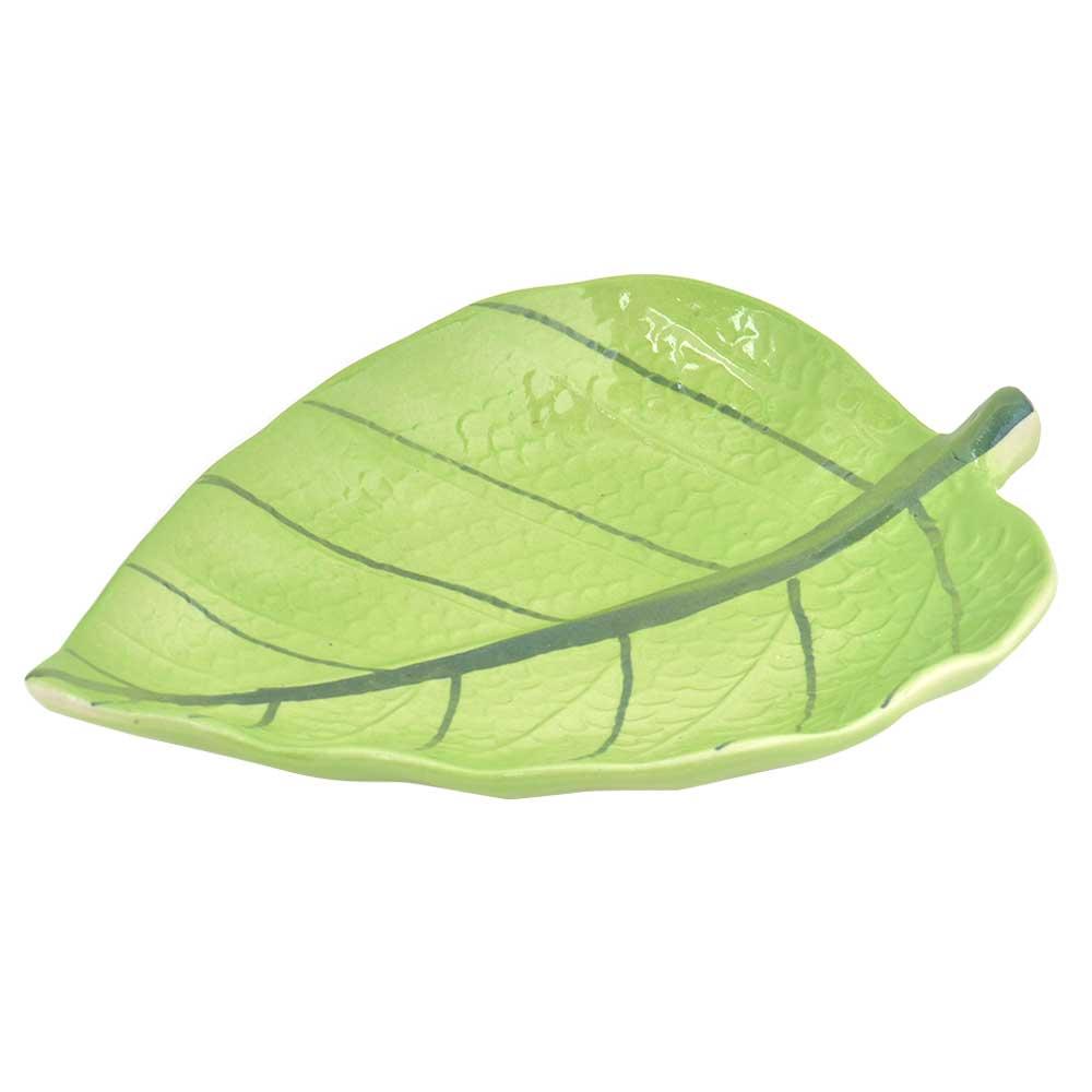 Green Ceramic Leaf Serving Tray Platter Dish Set of 2