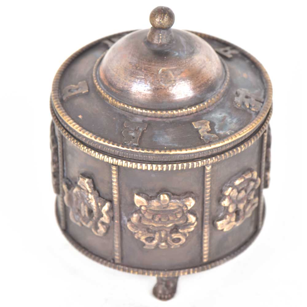 Vintage Embossed Brass Lidded Trinket Small Box