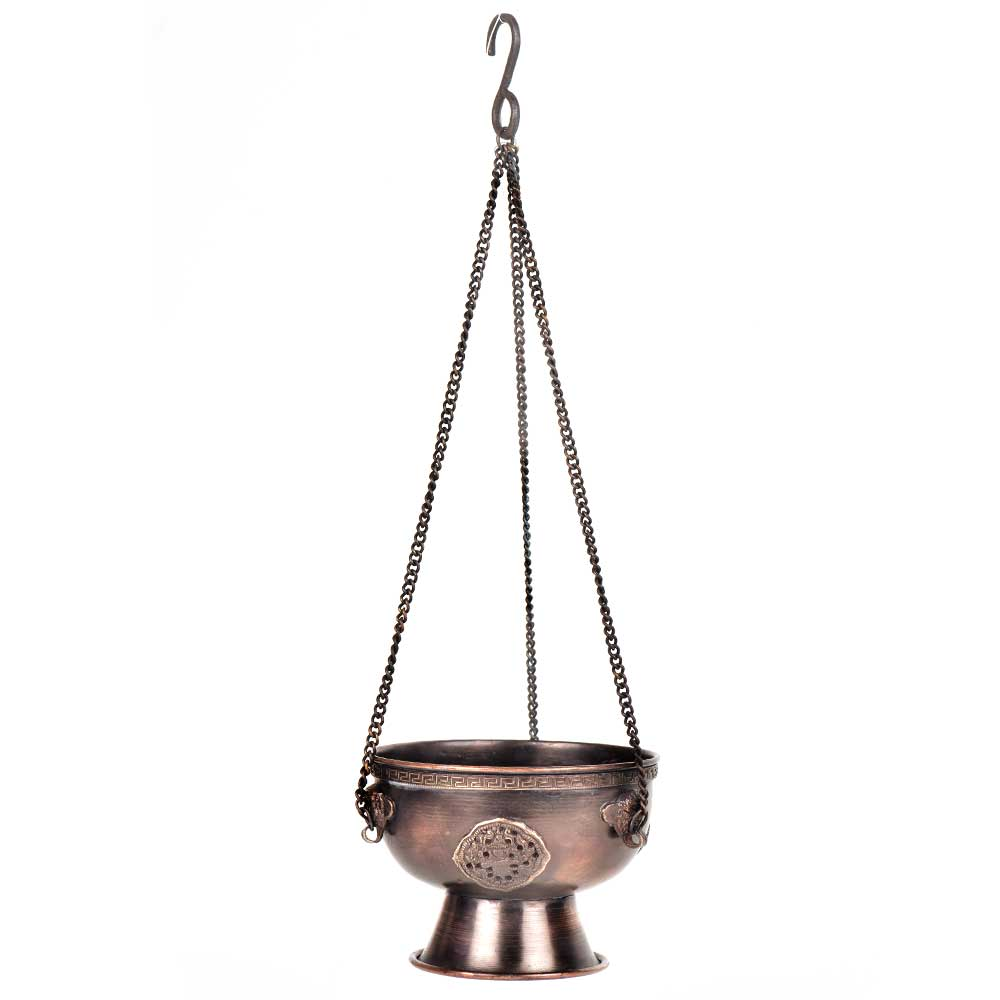 Vintage Hanging Embossed Brass Incense Burner
