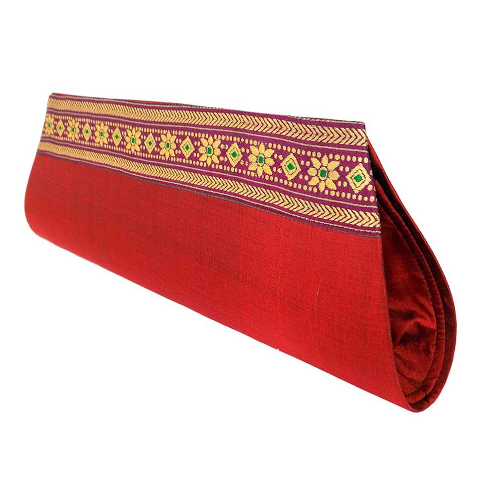 Miharu Red Color Handloom Silk Clutch Bag with Baluchari Motif Weave