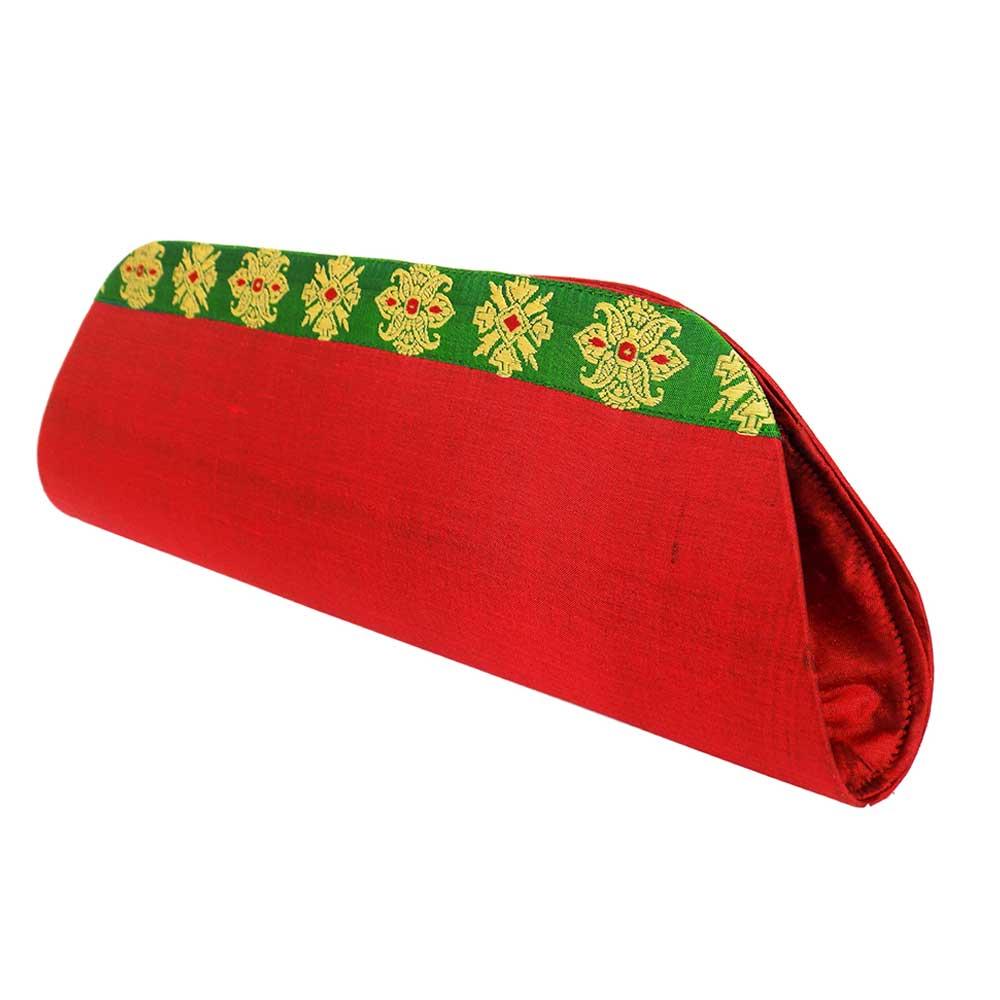 Red Color Handloom Silk Clutch Bag with Baluchari Motif Weave