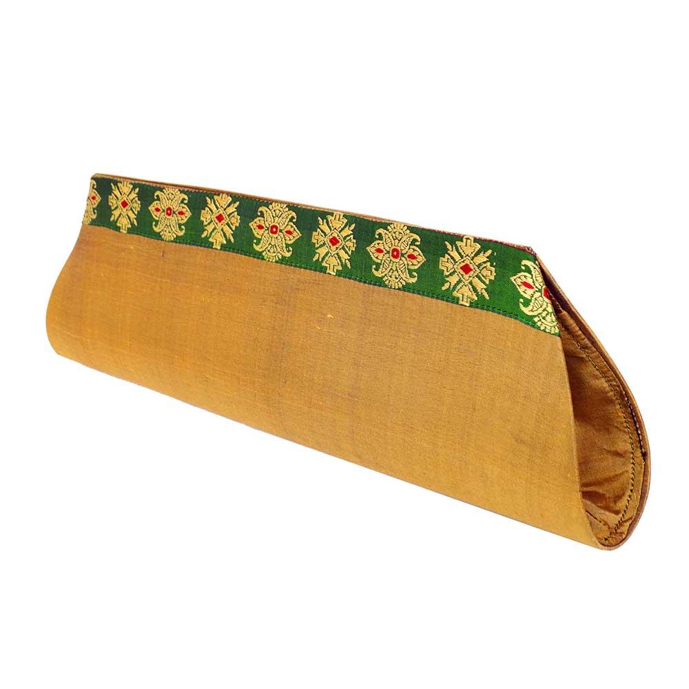 Beige Color Handloom Silk Clutch Bag with Baluchari Motif Weave