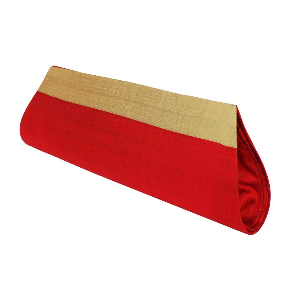 Red-Beige Handloom Silk Clutch Bag