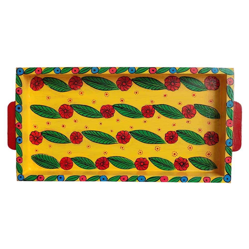 Yellow Color Floral Design Handmade Painting Tray