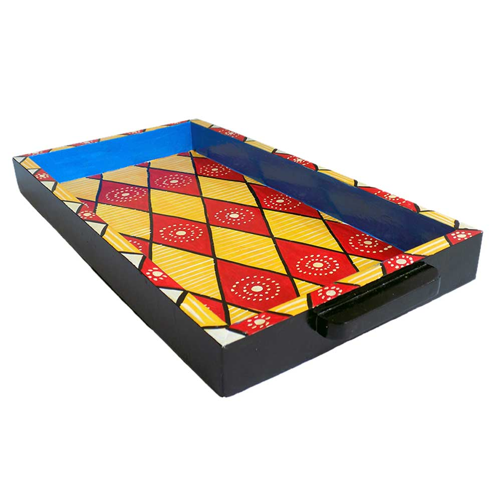 Multi-Color Geometric Design Handmade Painting Tray