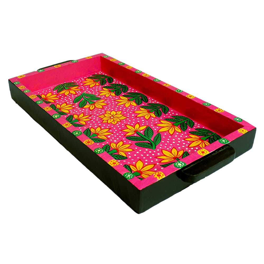 Pink Color Floral Design Handmade Painting Tray