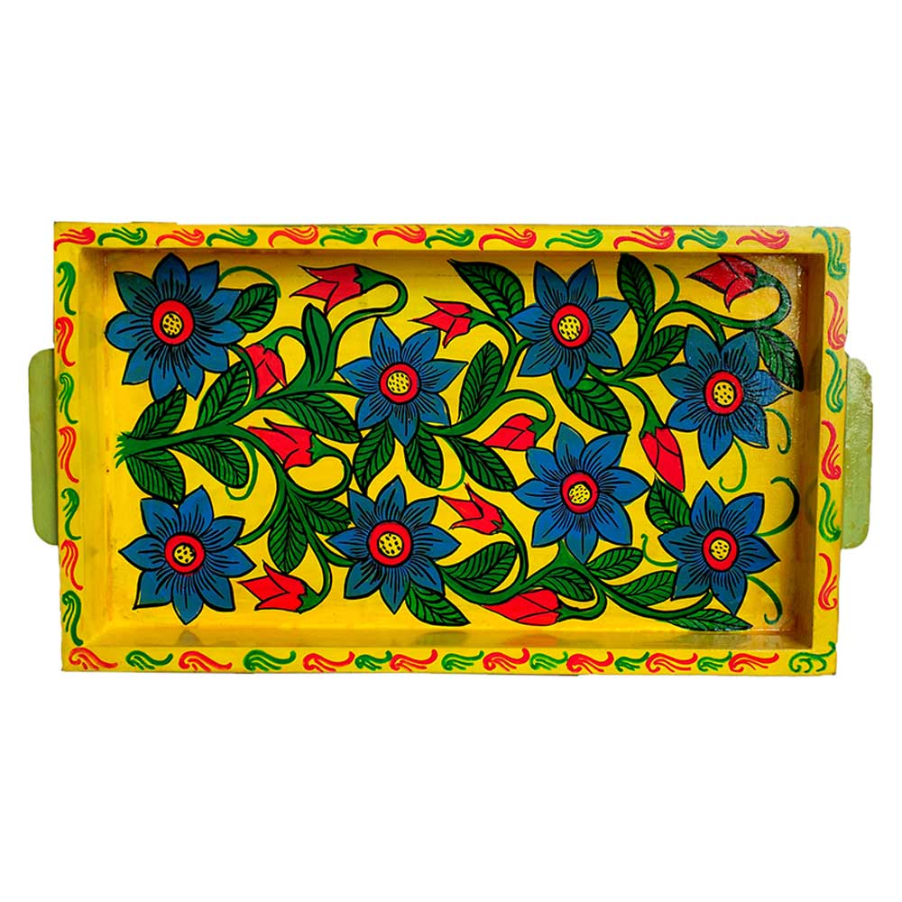 Yellow Color Handcrafted Decorative Platter Pattachitra Painting Tray