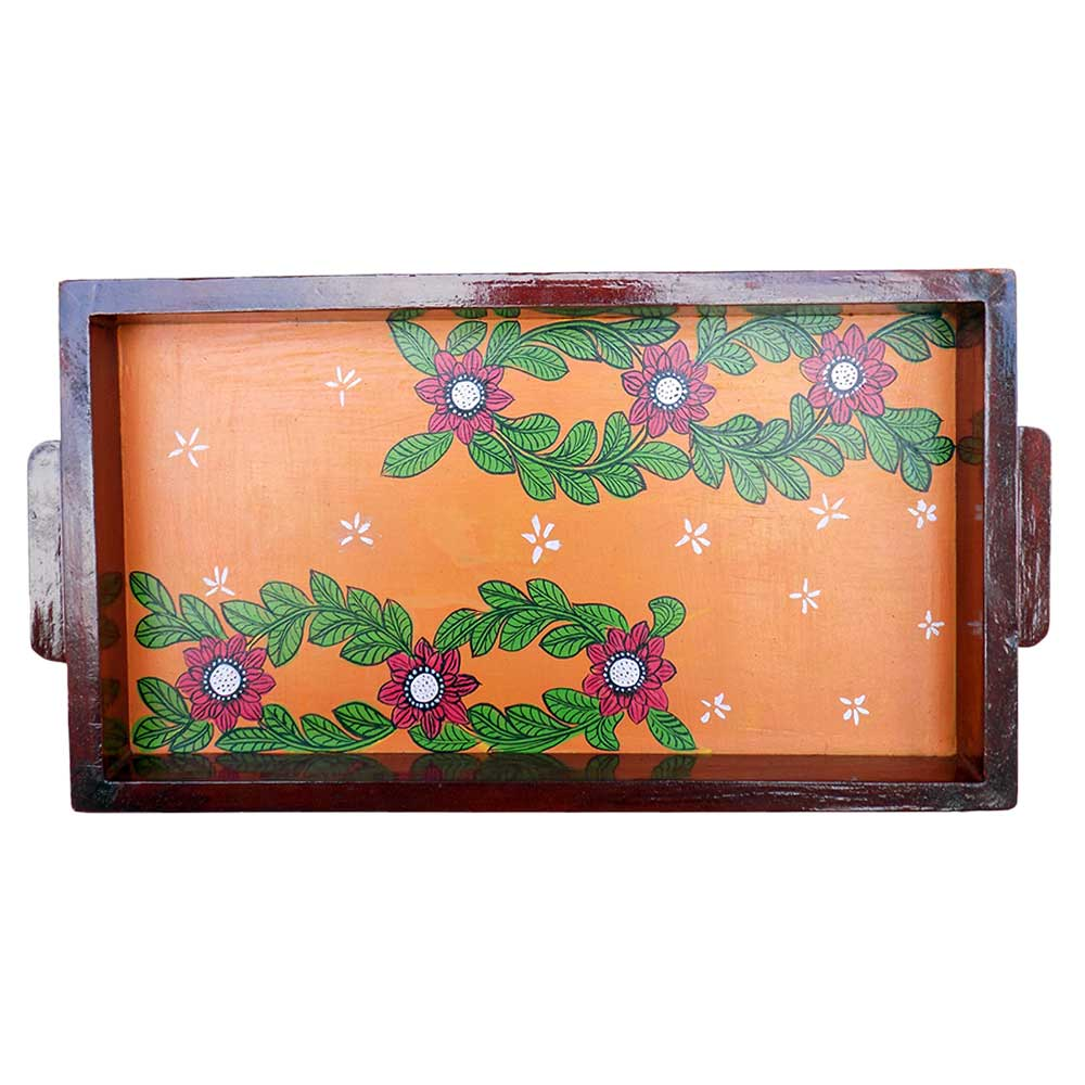 Orange Color Handcrafted Decorative Platter Pattachitra Painting Tray