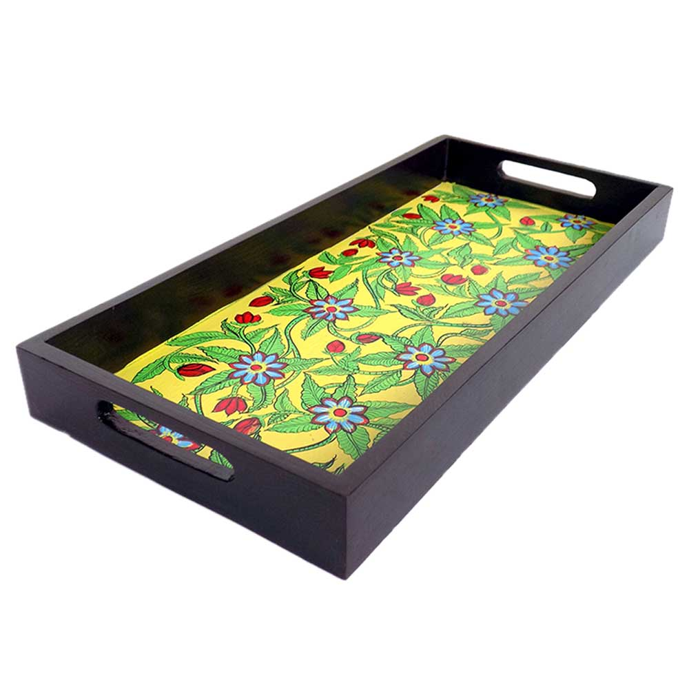 Yellow Floral Design Handmade Painting Wooden Tray