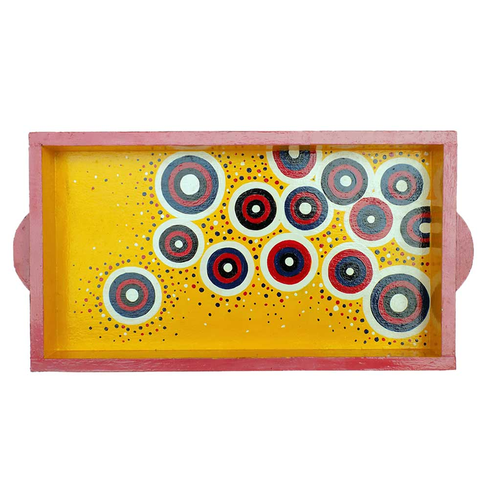 Yellow Color Contemporary Design Handmade Painting Tray