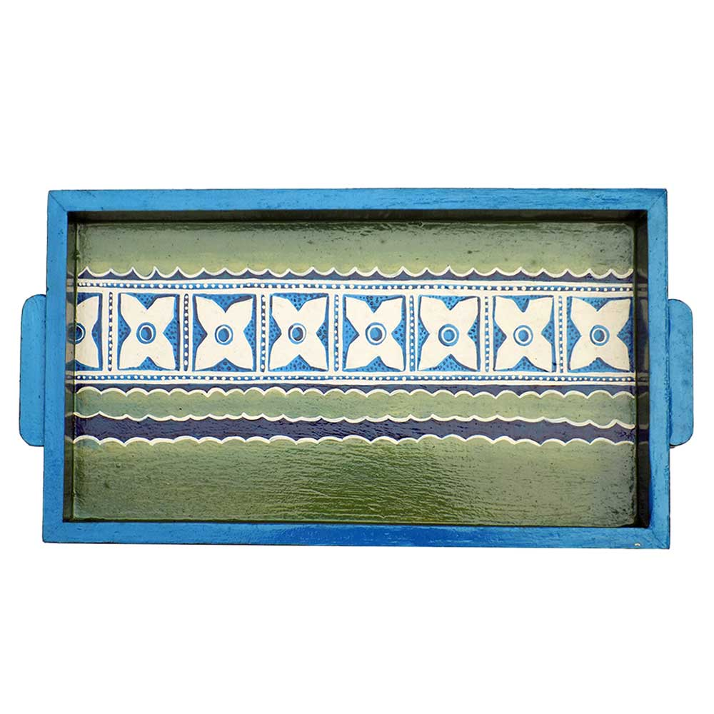Green-Blue Color Contemporary Design Handmade Painting Tray