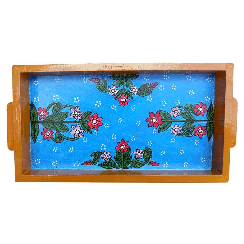 Blue Floral Design Wooden Tray