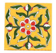 Mustard Base Forest Green Leaf Ceramic Tile