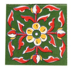 Red Leaf With Yellow Flower Ceramic Tiles
