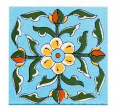Turquoise Base Yellow Tiny Flower Ceramic Tiles