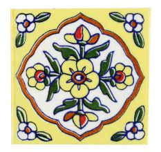 Yellow Ceramic Tiny Flower Tiles