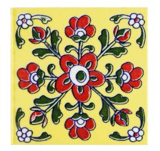 Yellow Base Red Tiny Flower Ceramic Tiles
