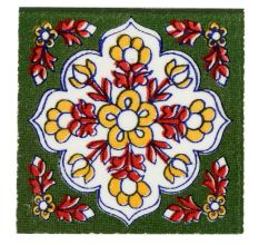 Forest Green Ceramic Floral Tiles