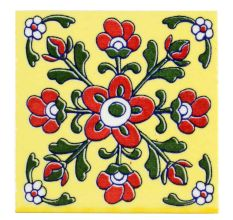 Red Tiny Flower Ceramic Tiles