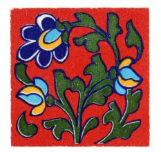 Red Base Forest Green Leaf Ceramic Tiles