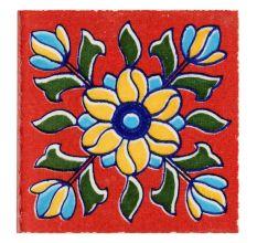 Red Base Sunflower Ceramic Tiles